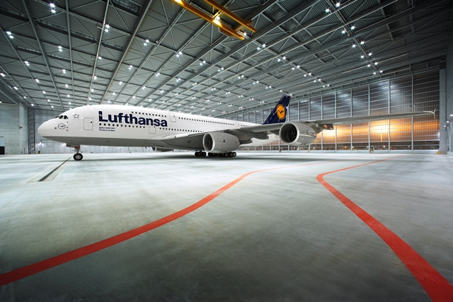 Lufthansa A380 im Hangar in Frankfurt