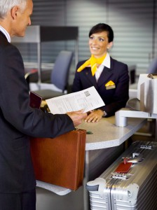 Vielflieger beim First Class Check-In, Quelle: Lufthansa