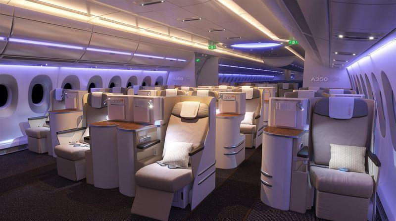A 350 Business Class Kabine mit dem EADS Sogerma Equinox SitzQuelle: Airbus