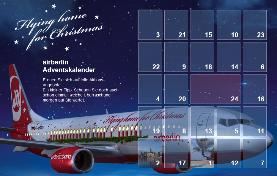 Airberlin Adventskalender Foto: Airberlin
