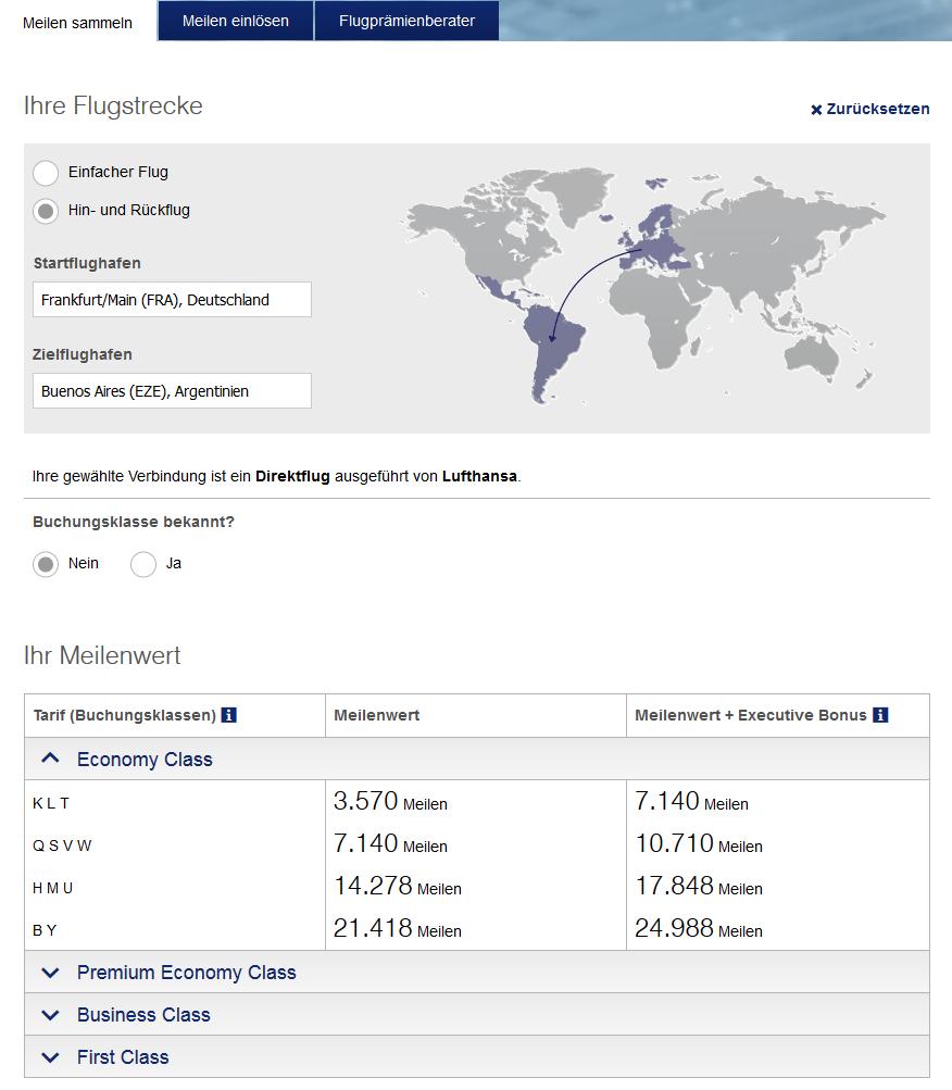 Beispiel Verbindung Foto: Screenshot Lufthansa