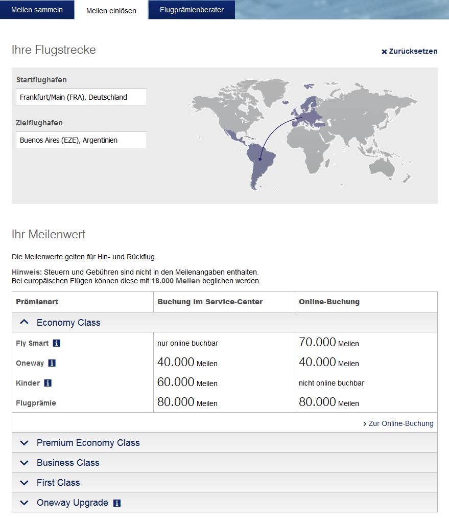 Beispiel Abfrage Foto: Lufthansa Screenshot