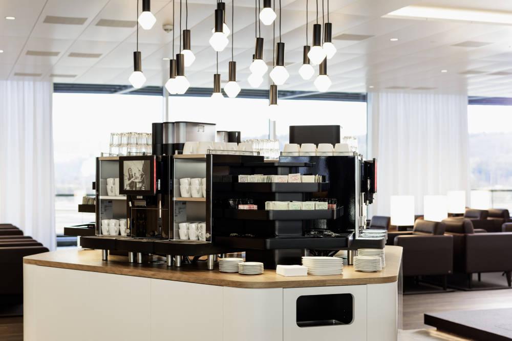 Business-Lounge Getränke Angebot