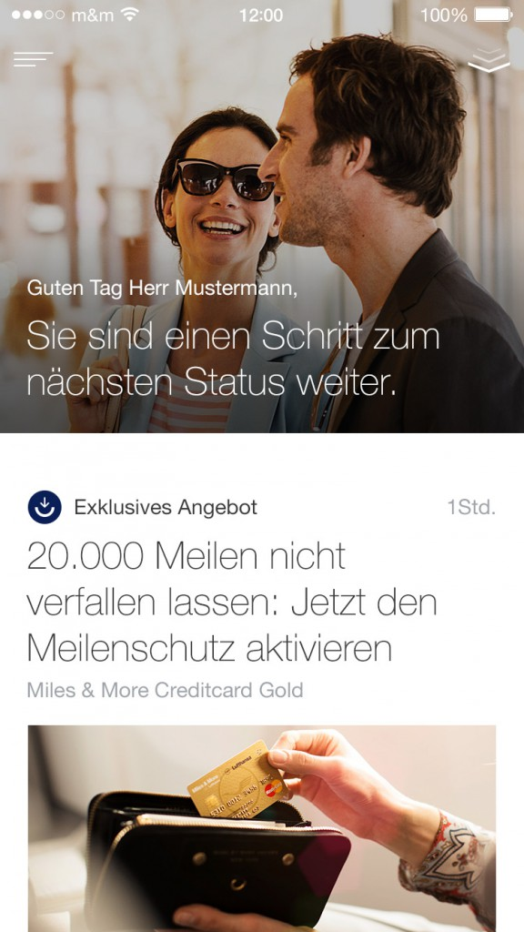 Content Stream in der App: Der neue digitale Auftritt von Miles & More bietet Teilnehmern verstärkt personalisierte Angebote (© Miles & More GmbH)