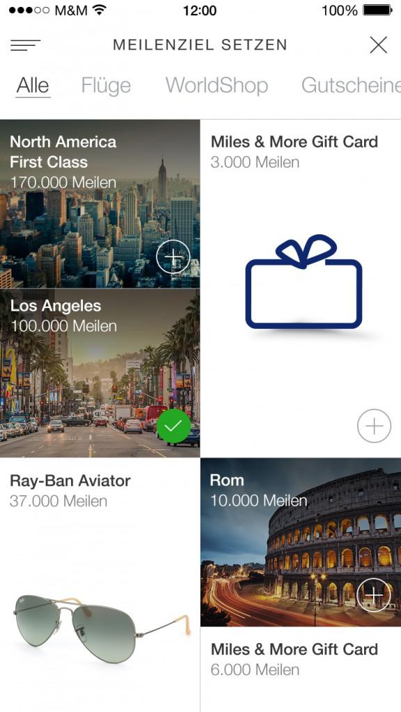 Goalcenter in der App: Der neue digitale Auftritt von Miles & More bietet Teilnehmern verstärkt personalisierte Angebote (© Miles & More GmbH)
